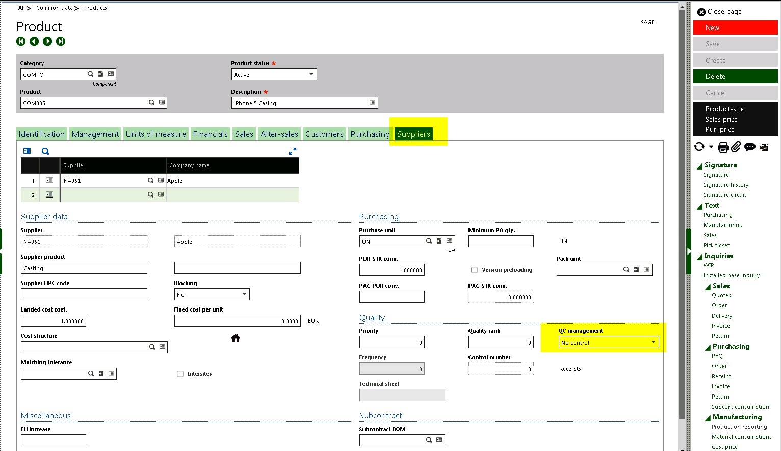 how to assign a product status in Sage Enterprise Management