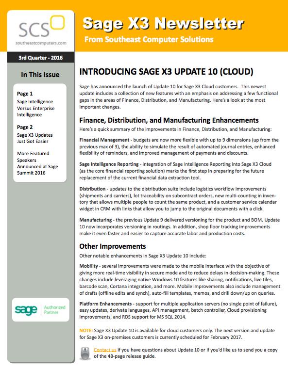 Introducing Sage X3 Update 10 (Cloud)